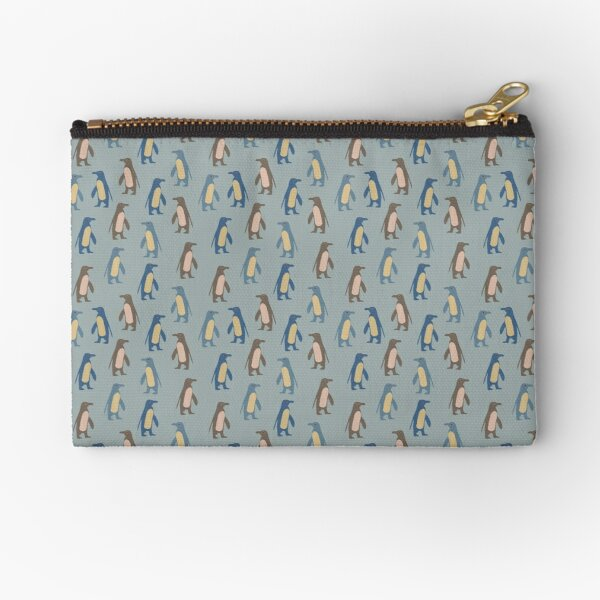 Penguins in teal Zipper Pouch