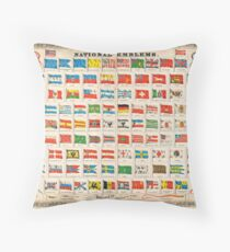 1864 Johnson Chart of the Flags and National Emblems of the World Geographicus Flags johnson 1864 Throw Pillow