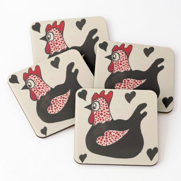 Black Hen Coasters (Set of 4)