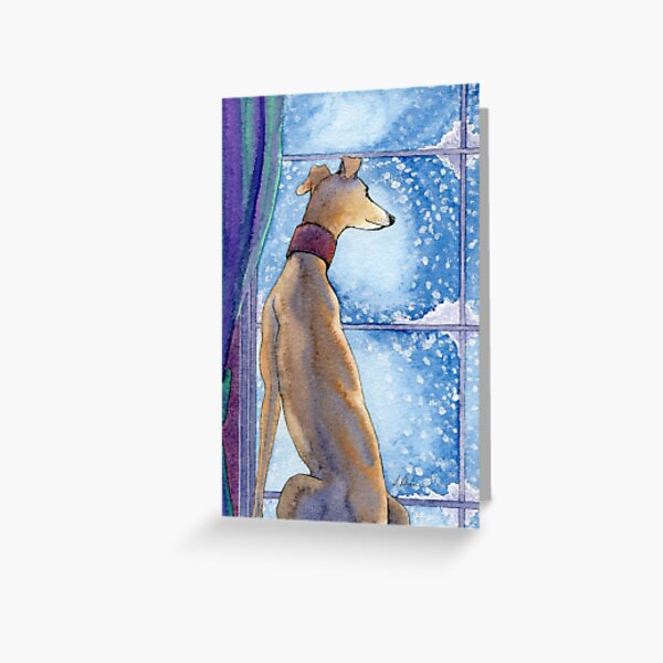 Greyhound dog sits in the warm watching the snow fall outside Greeting Card