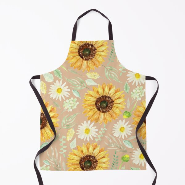 Sunflowers and Daisies | Watercolor | Art | Pattern | Beige Apron