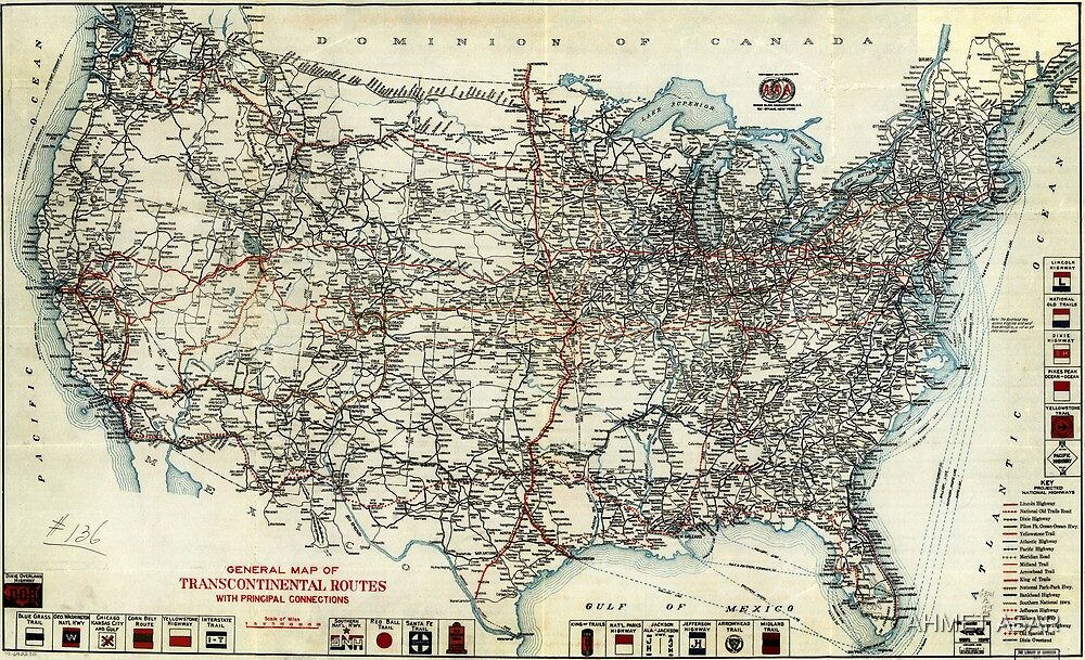 AAA Map of transcontinental routes (1918) by MotionAge Media