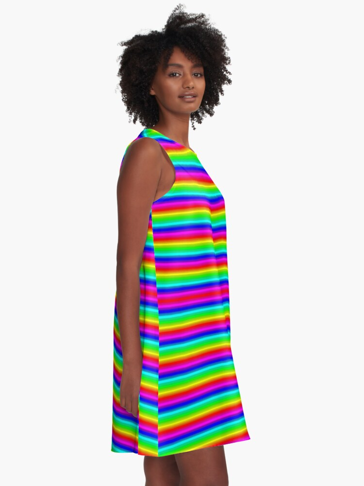 Alternate view of Psychedelic Hypnotic Visual Illusion A-Line Dress