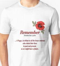 Remember Veterans Poppy Unisex T-Shirt