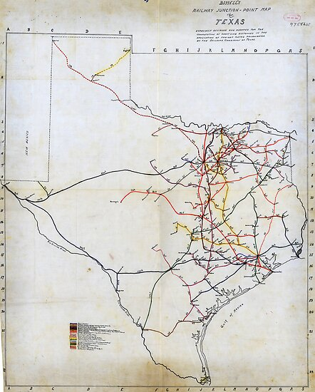 Bissell's railway junction map of Texas (1891) by MotionAge Media