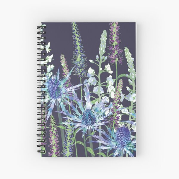 Sea Holly & Veronica Flowers Spiral Notebook