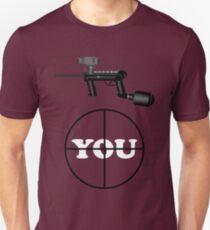 Paintball. Gun Sight on You. WHI. T-Shirt
