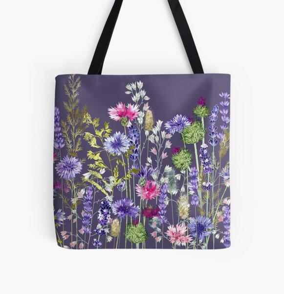 Flower Meadow - Cornflowers, Thistles, Lavender, Heucherella & Grasses All Over Print Tote Bag
