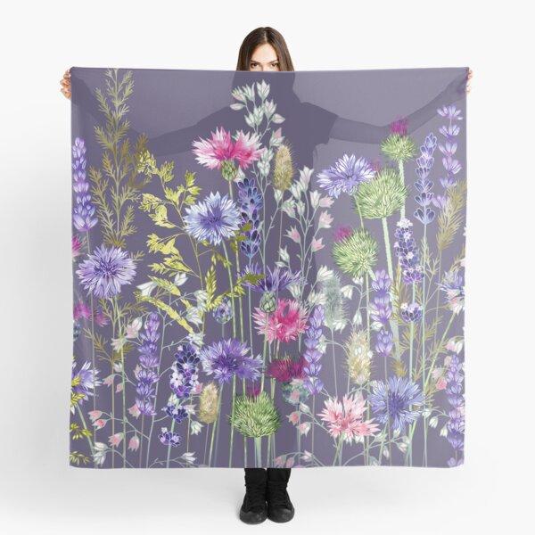 Flower Meadow - Cornflowers, Thistles, Lavender, Heucherella & Grasses Scarf