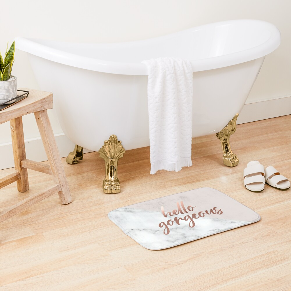 Hello Gorgeous, Quote, Rose Gold, Blush Pink, Marble Bath Mat