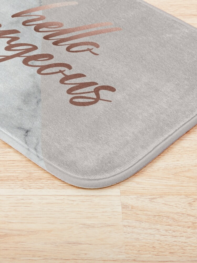 Alternate view of Hello Gorgeous, Quote, Rose Gold, Blush Pink, Marble Bath Mat