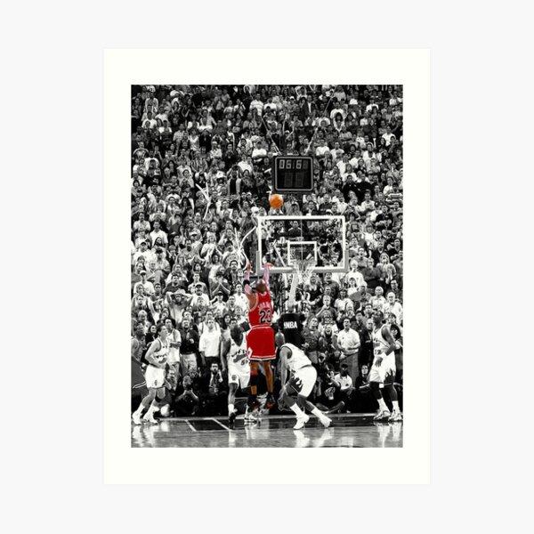 Mejor calidad Michael Jordan disparó sobre Russell Lámina artística