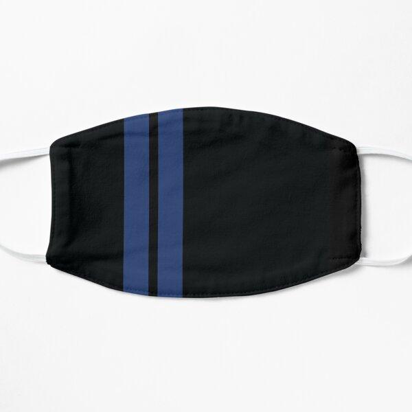 Rayas de carreras (azul y negro) Mascarilla plana