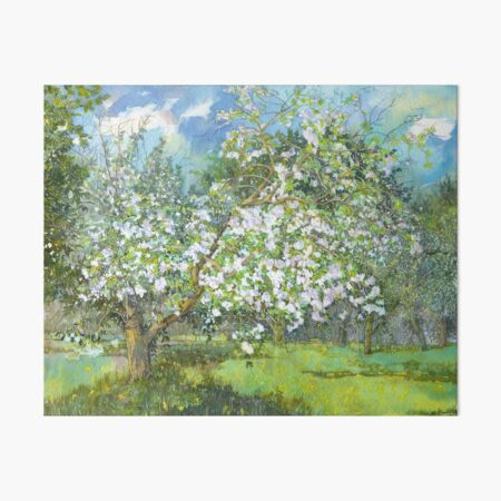 Blossoming garden  painting  watercolor  Art Board Print