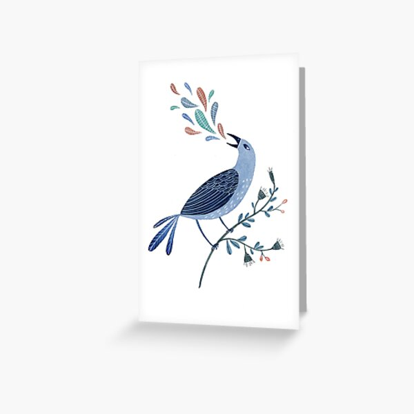 Blue Bird Sings Greeting Card