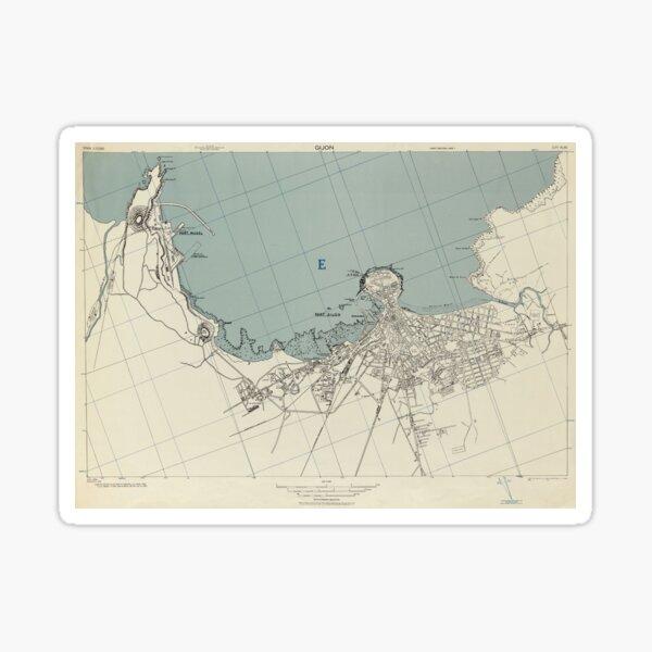 Vintage Gijon Spain Map (1943) Sticker