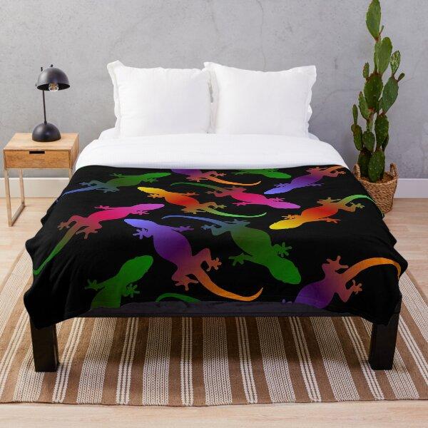 Colorful Seamless Gecko Pattern (black) Throw Blanket