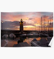 Desenzano del Garda Marina Old Lighthouse Sunrise Poster