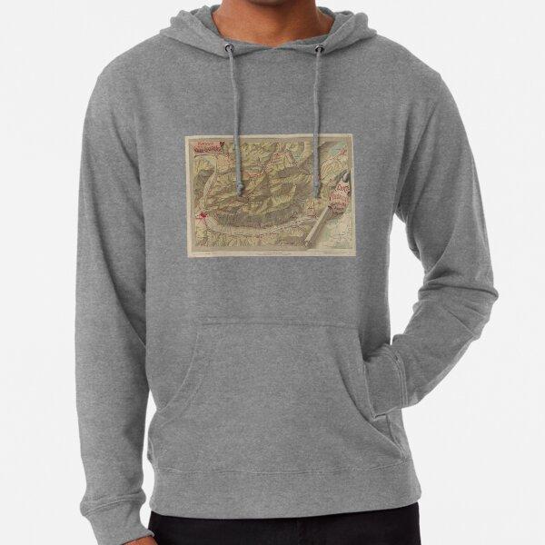 Carte vintage des montagnes de la Chartreuse (1897) Sweat à capuche léger