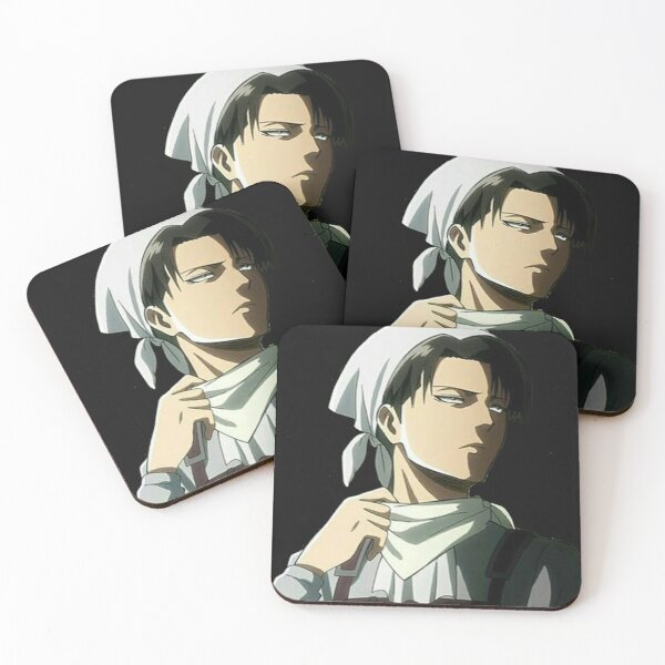 Levi Ackerman in his cleaning suit Coasters (Set of 4)