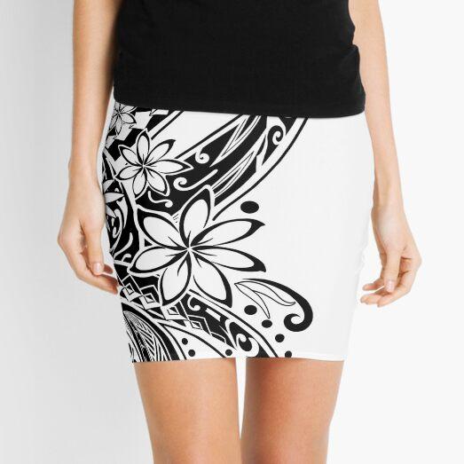 Polynesian Black And White Tribal  Mini Skirt