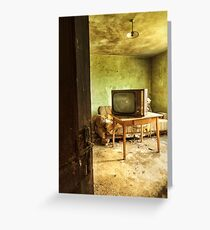 Room with tv in old abandoned house Greeting Card