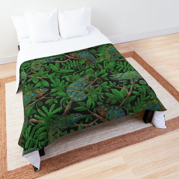 Brightly Colored Chameleon Lizards in Lush Green Jungle Comforter