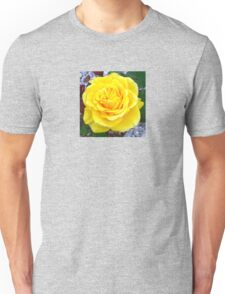 Head On View Of A Yellow Rose With Garden Background T-Shirt