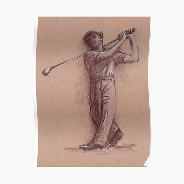 Ben Hogan - Pencil drawing of the Legendary Golf Master Poster