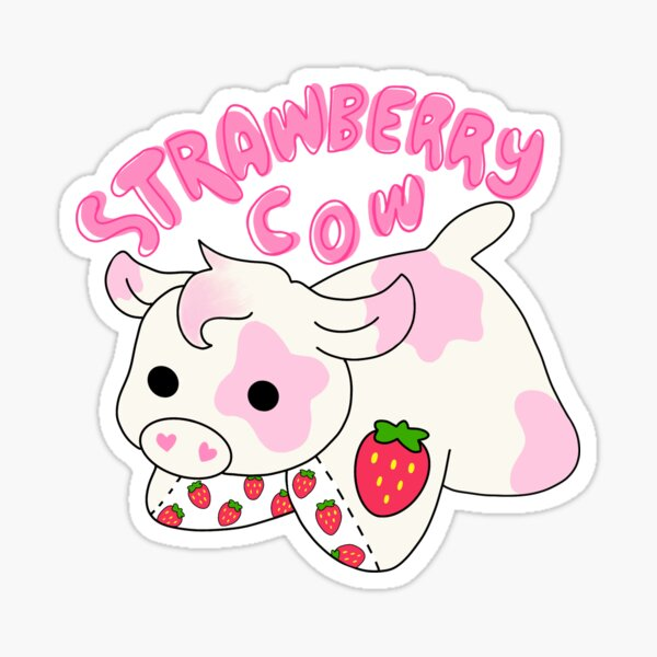 Strawberry Cow  Sticker