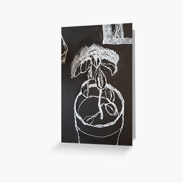 Black and withe plant Greeting Card