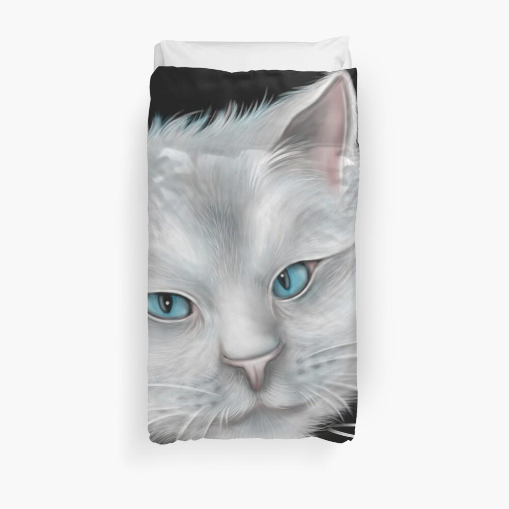 White Kitty Cat with Blue Eyes Duvet Cover