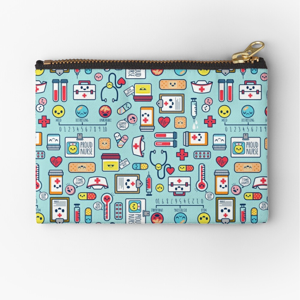 Proud To Be a Nurse / Surface Pattern Design / Blue Zipper Pouch