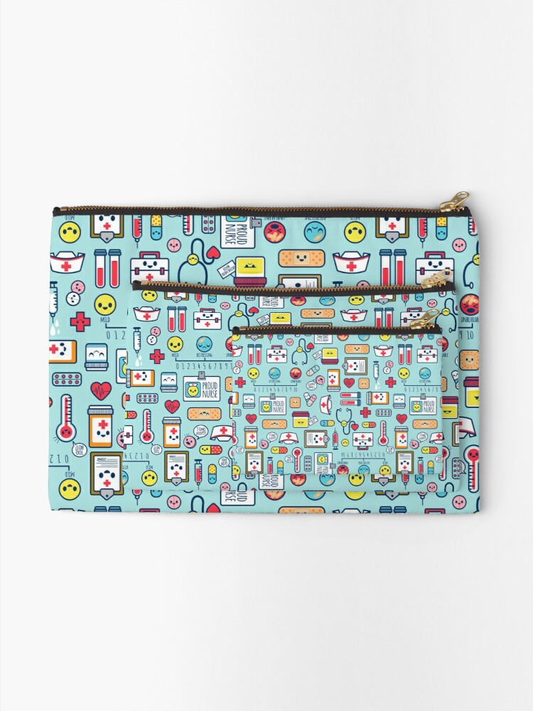 Alternate view of Proud To Be a Nurse / Surface Pattern Design / Blue Zipper Pouch