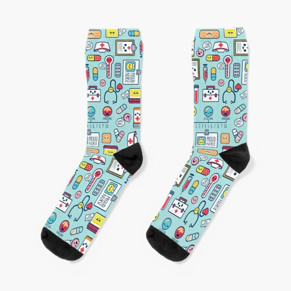 Proud To Be a Nurse / Surface Pattern Design / Blue Socks