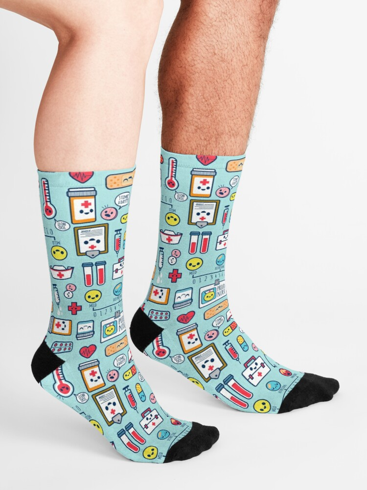 Alternate view of Proud To Be a Nurse / Surface Pattern Design / Blue Socks