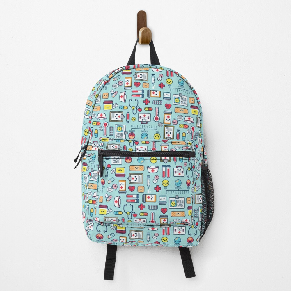 Proud To Be a Nurse / Surface Pattern Design / Blue Backpack