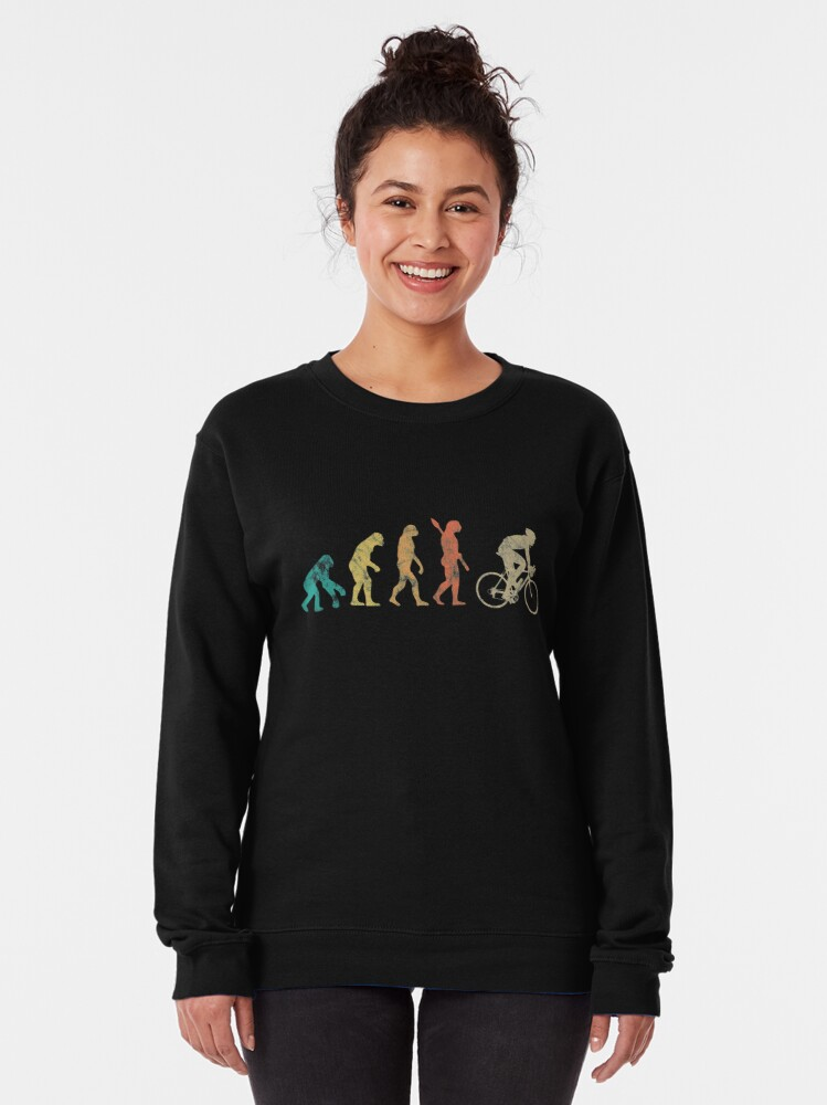 Alternate view of Retro Men Evolution Cycling Gift For cyclist Pullover Sweatshirt