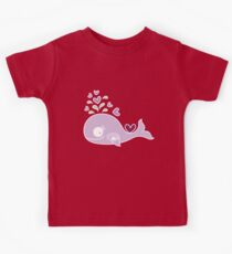 Whimsical Cute Magenta Purple Pregnant Mommy Whale Kids Tee