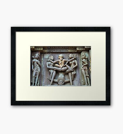 Kamasutra carvings on Khajuraho temple walls Framed Print