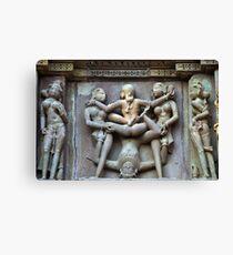 Kamasutra carvings on Khajuraho temple walls Canvas Print