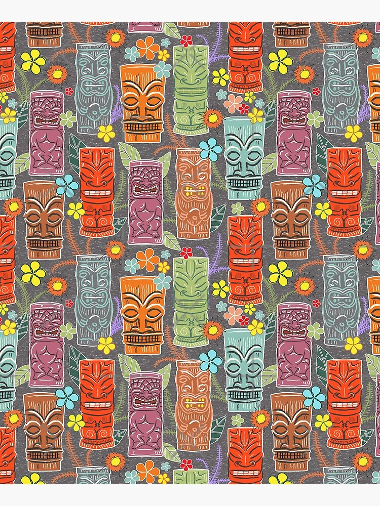 Mid Century Tiki Festival with Flowers and Suns by vinpauld