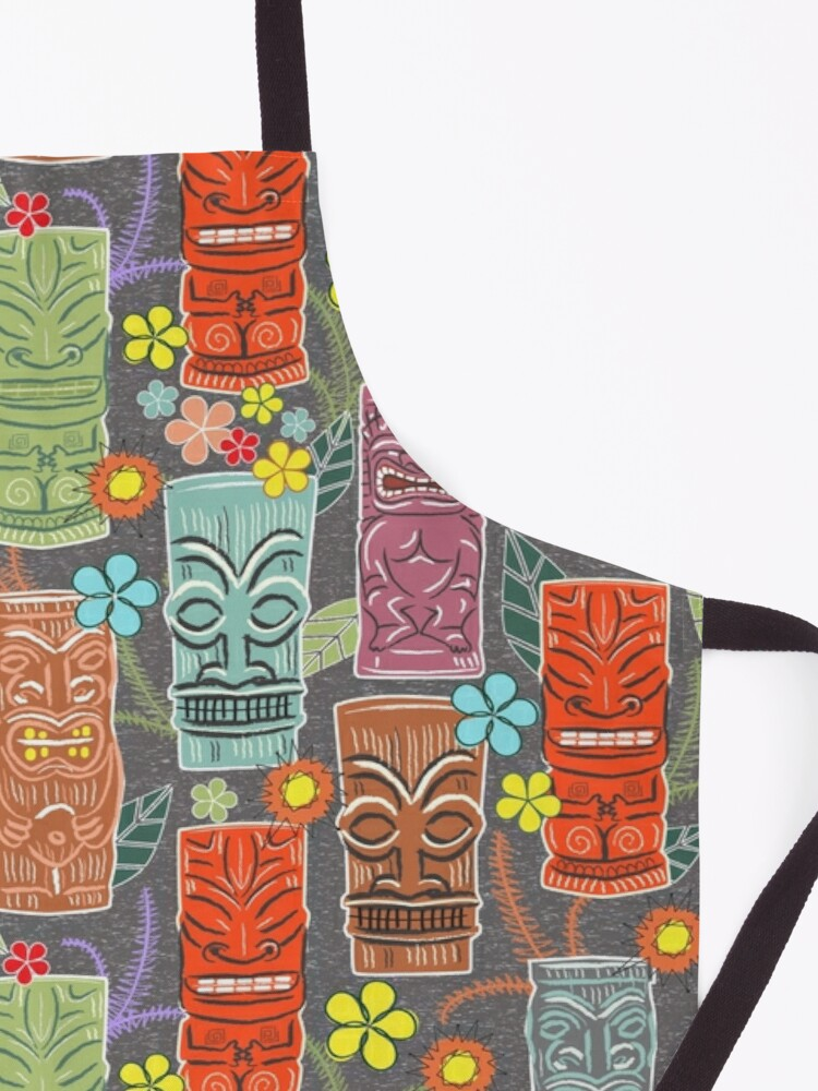 Alternate view of Mid Century Tiki Festival with Flowers and Suns Apron