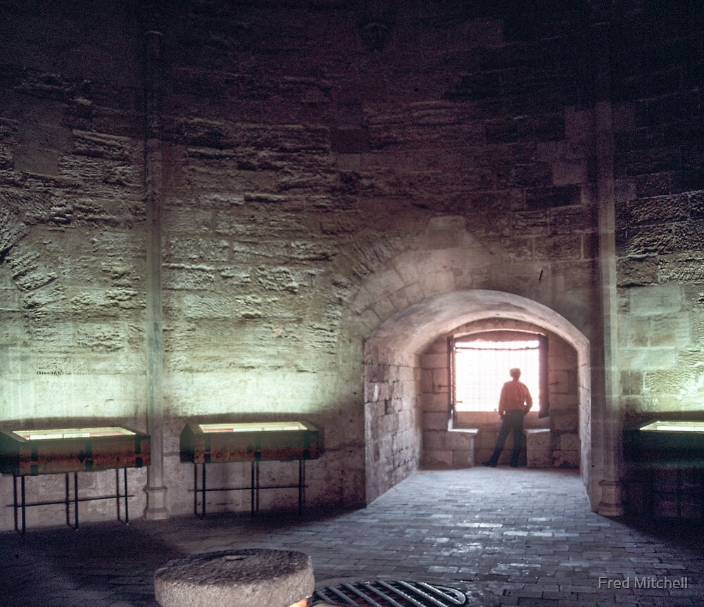 Interior silhouette C13 Tower of Constance prison for Huguenots 19840304 0039 by Fred Mitchell