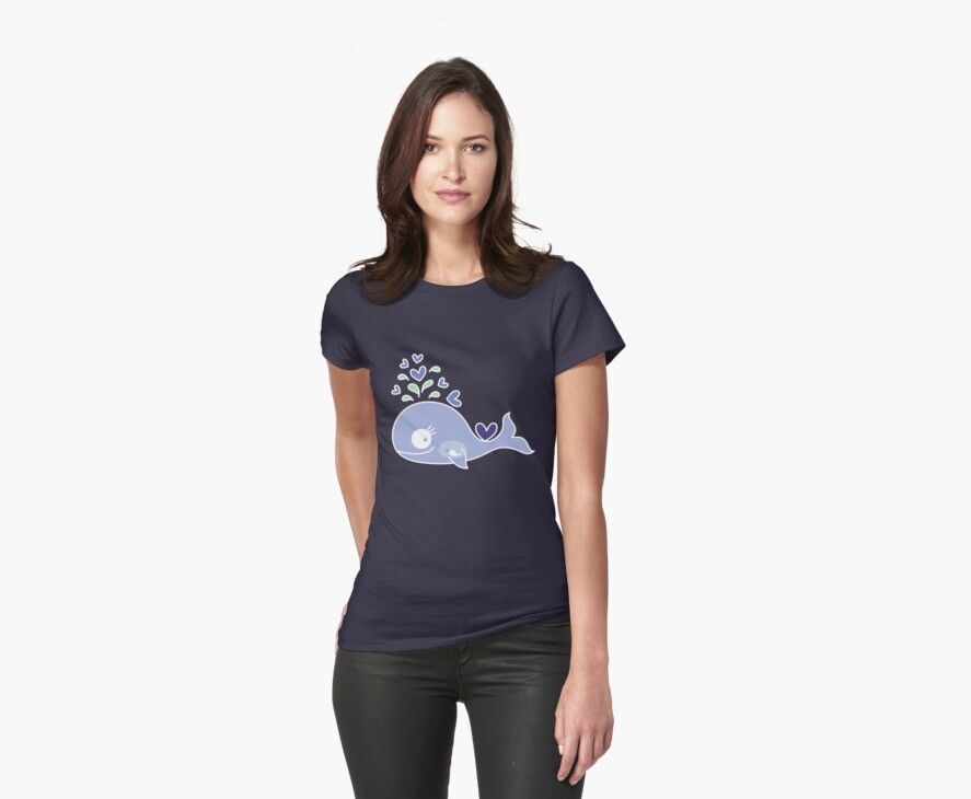 Whimsical Cute Indigo Purple Pregnant Mommy Whale by fatfatin