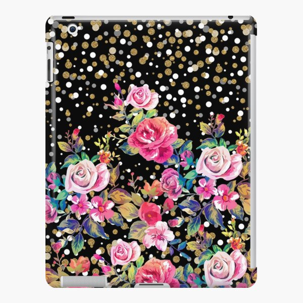 Modern watercolor spring floral and gold dots pattern iPad Snap Case