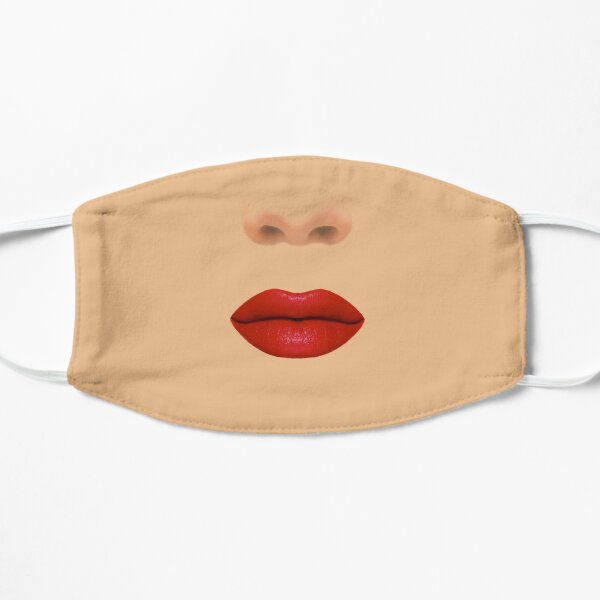 Red Lips Lipstick on Fair Light Tanned Skin Mask Mask