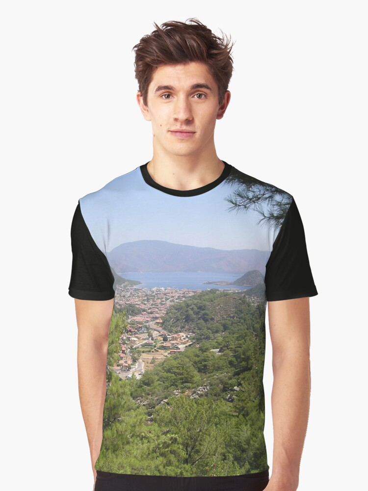 Landscape Of Icmeler Marmaris Turkey From Mountain Road Graphic T-Shirt Front
