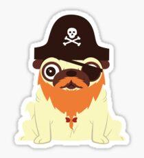 Pug in a crew Sticker