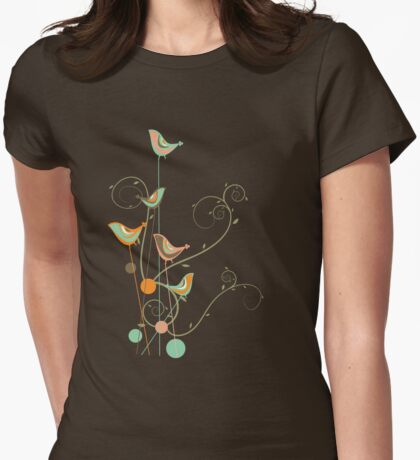 Colorful Whimsical Summer Birds and Swirls 2 T-Shirt